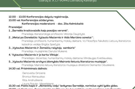 "Mokslinė konferencija ""Vytautui Mačerniu - 100"""