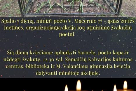 Poetui V. Mačerniui atminti