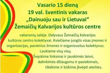 """Šventinis vakaras """"Dainuoju sau ir Lietuvai"""""""