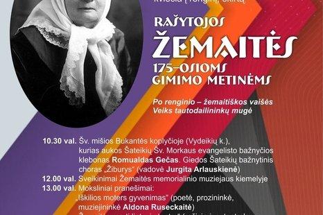 RAŠYTOJOS ŽEMAITĖS 175-ĄSIAS GIMIMO METINES